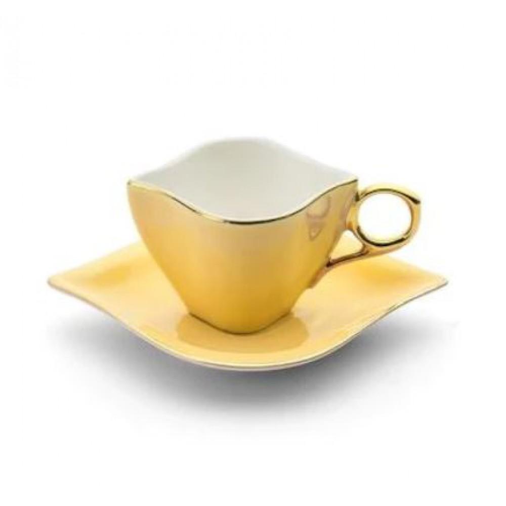 Emsan Sonsuz Aşk 2 Kişilik Kahve Fincan Takımı Sarı