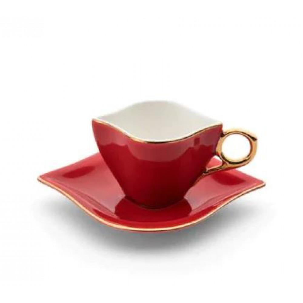 Emsan Sonsuz Aşk 2 Kişilik Kahve Fincan Takımı Bayaz Gold-Kırmızı