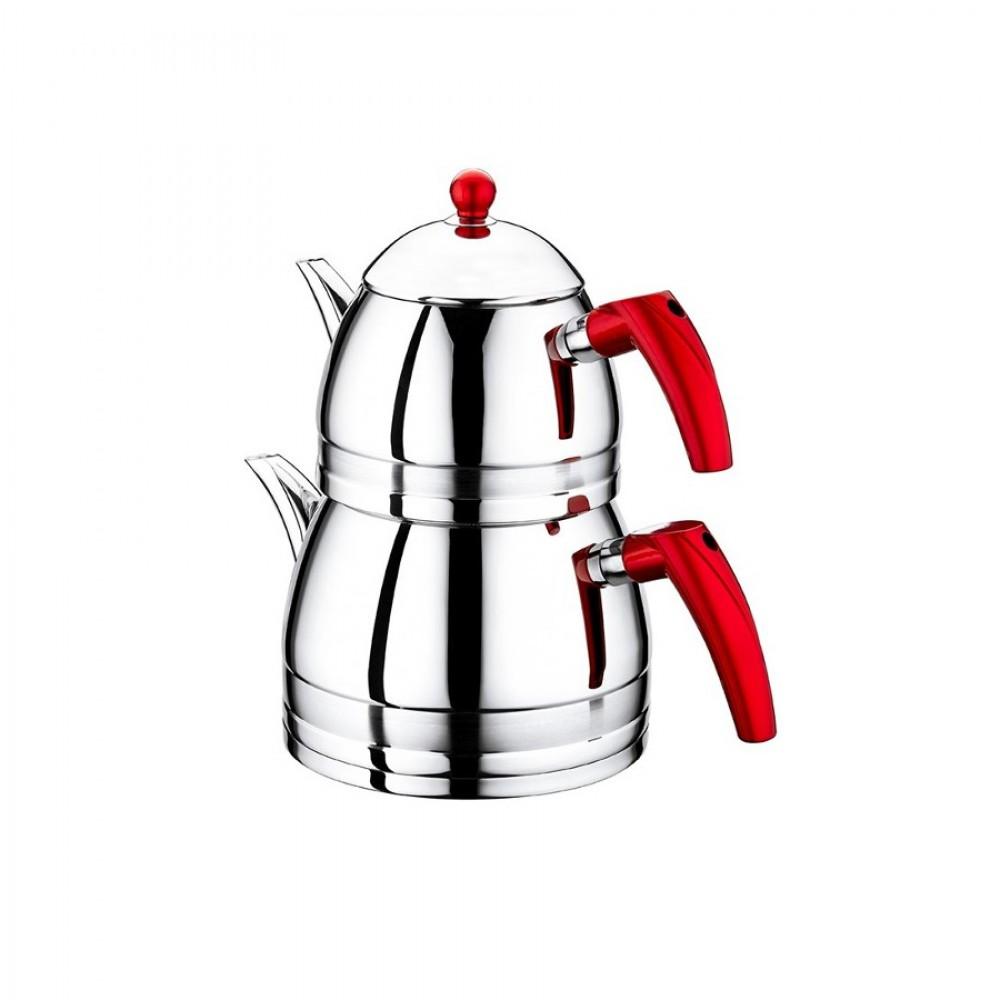 OMS XL Çelik Çaydanlık Kırmızı - Mor Renk