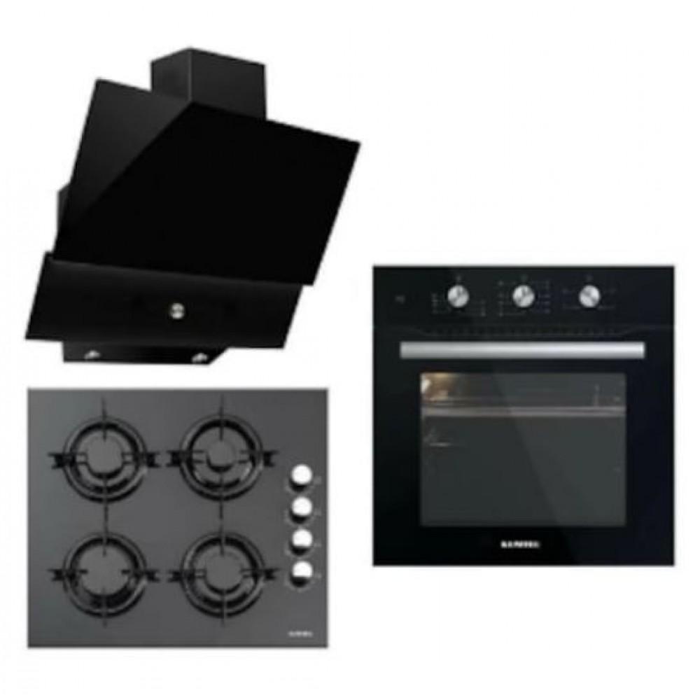 Luxell Kristal Serisi Siyah Cam Üç 3'lü Ankastre Set A6-Sf2 Mt Fır